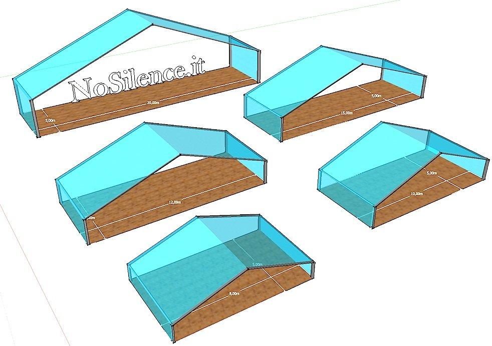 Noleggio Tendostrutture e Tensostrutture doppiafalda in PVC bianco e Kristal