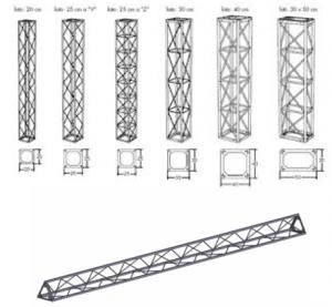 Noleggio strutture in tralicci e americana in alluminio