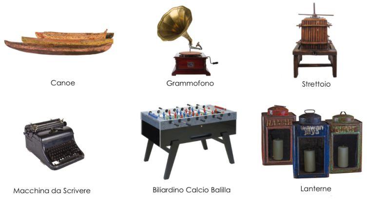 Noleggio arredi vintage retr affitto complementi d for Complementi d arredo vintage